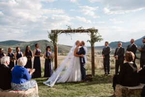 First Kiss at La Joya Dulce wedding venue