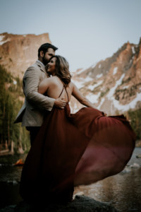 Bride in red dress with Colorado Elopement Package