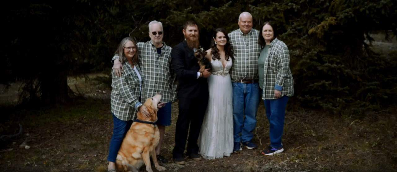 Family at elopement wedding